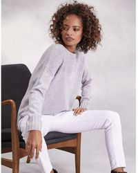 The White Company - Rib Yoke Sweater With Cashmere - Lyst