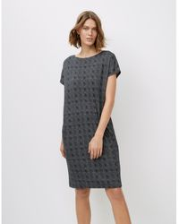 The White Company Jersey Fine Check-print Cocoon Dress - Grey