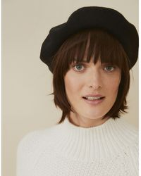 The White Company Wool Beret - Black