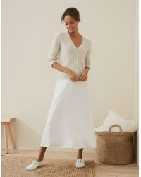 The White Company A-line Hammered Satin Skirt - White