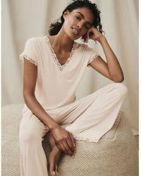The White Company Short Sleeve V-neck Lace Pajama Set - Multicolor