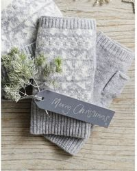 The White Company Wool-cashmere Fair Isle Wrist Warmers - Gray