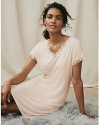The White Company Short Sleeve V-neck Lace Nightie - Multicolour
