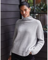The White Company Weave-stitch Sweater With Cashmere - Gray