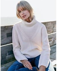 The White Company - Wool Cable Funnel Neck Sweater - Lyst