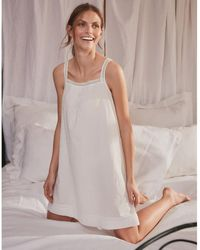 The White Company Cotton Dobby Lace-strap Nightgown - White