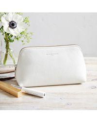 The White Company Pebblegrain Leather Make-up Bag - White