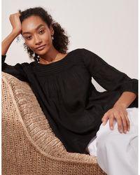 The White Company Linen Pintuck Gauze Top - Black