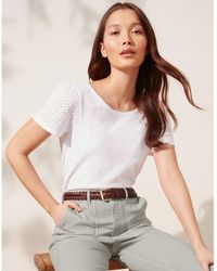 The White Company Organic-cotton Broderie Sleeve Top - White