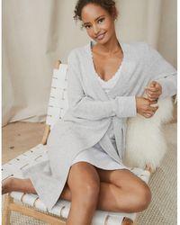 The White Company Cashmere Short Robe - Gray