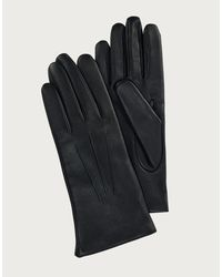 The White Company Leather Touchscreen Gloves - Black