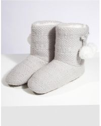 The White Company - Knitted Pom-pom Slipper Boots - Lyst