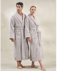 The White Company Unisex Cotton Classic Robe - Gray