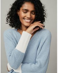 The White Company Cotton-wool Colorblock V-neck Jumper - Blue