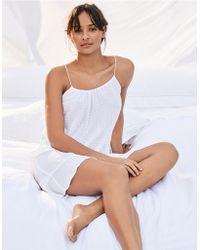 The White Company - Cotton Textured Tie Nightie - Lyst