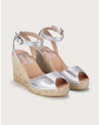 The White Company Peep-toe Wedge Espadrilles - Metallic