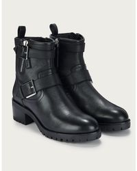 The White Company Leather Biker Boots - Black