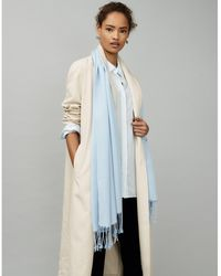 The White Company Plain Fringe Scarf With Wool - Blue