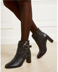 The White Company - Leather Zip Detail Heeled Boots - Lyst
