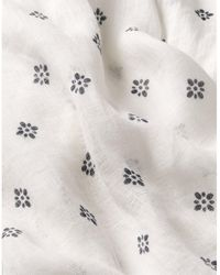 The White Company Linen Gauze Indigo Stamp Scarf - White