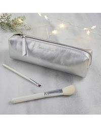The White Company Leather Brush Case - Metallic