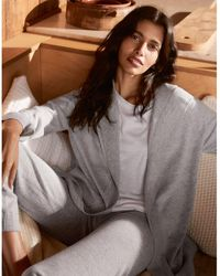 The White Company Rib-trim Hooded Cardigan With Cashmere - Grey