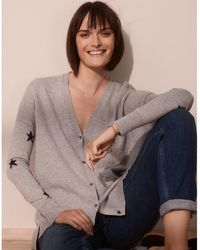 The White Company Wool-cotton Star-sleeve Cardigan - Gray