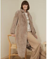 The White Company Long Faux-fur Coat - Natural