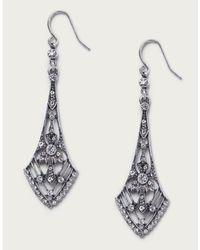 The White Company Silver Ox Deco Earrings - Metallic