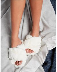 The White Company - Faux-fur Cross Slider Slippers - Lyst