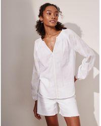 The White Company Cotton Embroidered Boho Blouse - White