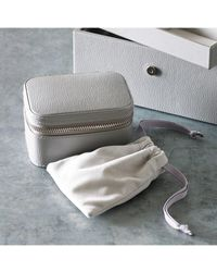 The White Company Leather Trinket & Cufflink Box - Gray