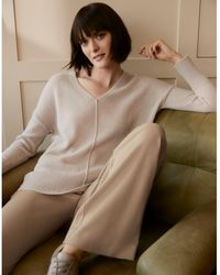 The White Company V-neck Jumper With Alpaca - Natural