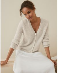 The White Company Button-through Cardigan With Alpaca - Natural