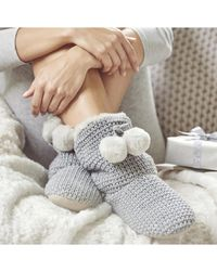 The White Company Knitted Pom-pom Slipper Boots - Gray