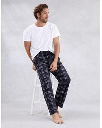 The White Company Men's Flannel Check Pajama Bottoms - Blue