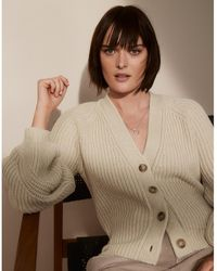 The White Company Balloon Sleeve Cardigan With Alpaca - Natural