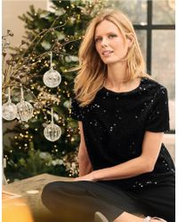 The White Company Flocked Sequin Top - Black