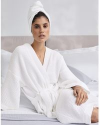 The White Company Long Lightweight Waffle Robe - White