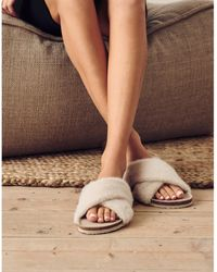 The White Company Faux-fur Slider Slippers - Natural