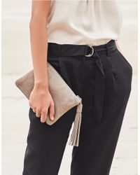 The White Company - Suede Tassel Clutch Bag - Lyst