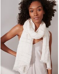 The White Company - Linen Lurex-stripe Scarf - Lyst