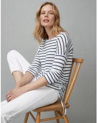 The White Company Ruched Sparkle Stripe T-shirt - Blue