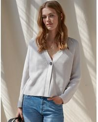 The White Company Rib Cardigan With Recycled Cotton - Gray