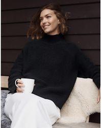 The White Company Garter-stitch Sweater With Cashmere - Black