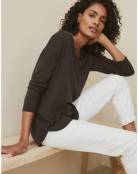 The White Company Washable Merino Wool Curved Hem Sweater - Multicolor