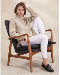 The White Company Chunky Longline Sweater With Alpaca - Natural