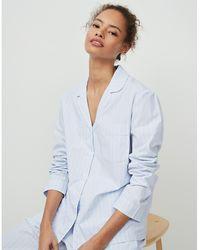 The White Company Cotton Chalk Stripe Pyjama Shirt - Blue