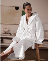 The White Company Unisex Hydrocotton Hooded Ribbed Robe - White