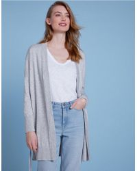 The White Company - Cotton-wool Eyelet Tie Cardigan - Lyst